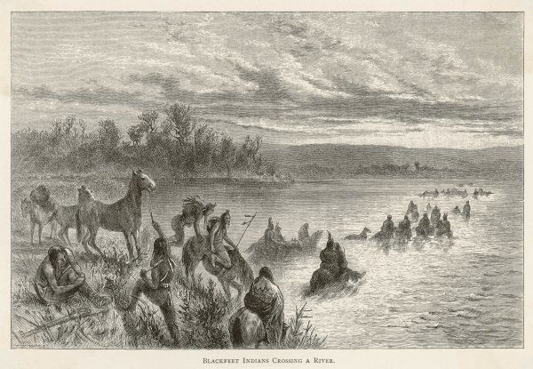 Canadian Blackfoot Indians crossing a river with their horses
