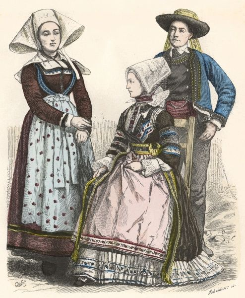 Three Bretons in traditional costume Date: late 19th century
