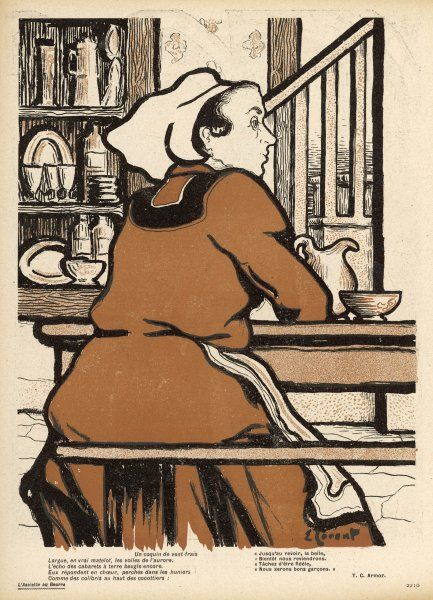 A Breton woman at her kitchen table