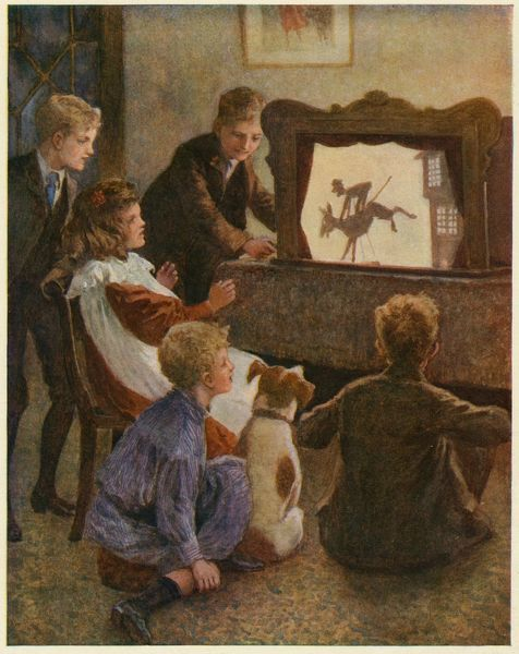 Children watch a shadow theatre - their dog seems equally entertained !