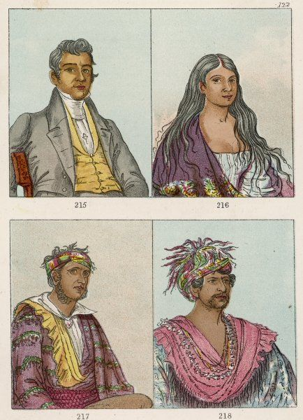 Group of Cherokee Indians, one in non-native dress