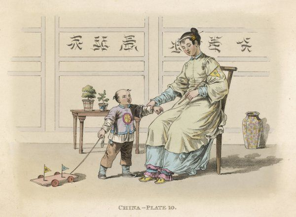 A Chinese lady and her son