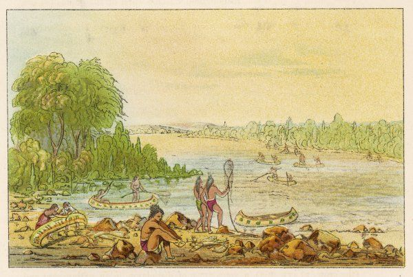 Chippeways fishing in the rapids near Sault Sainte Marie