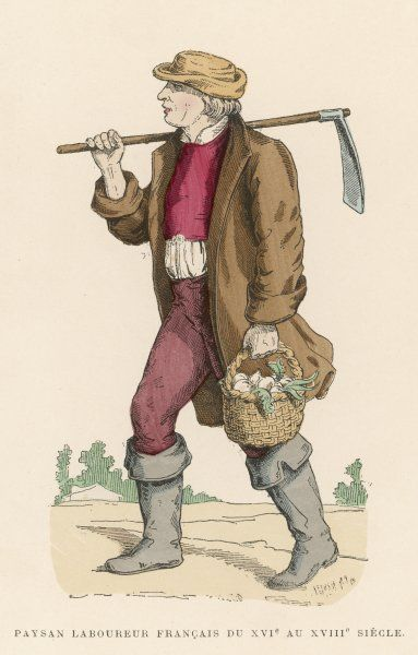 Labouring peasant returning from the fields with a basket of turnips