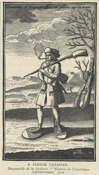 A French Canadian frontiersman with rifle slung over his shoulder
