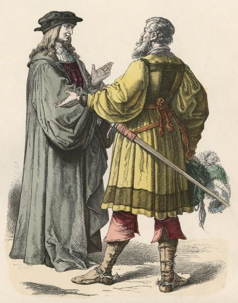 A magistrate (left) and a knight (right)  16th century