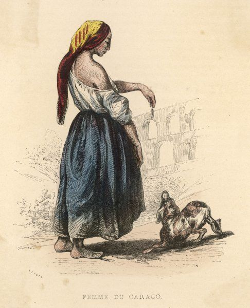 A gipsy woman of Southern France with her dog