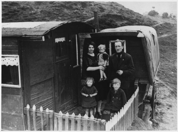 Gipsy van dwellers on South Moor near Stanley, County Durham