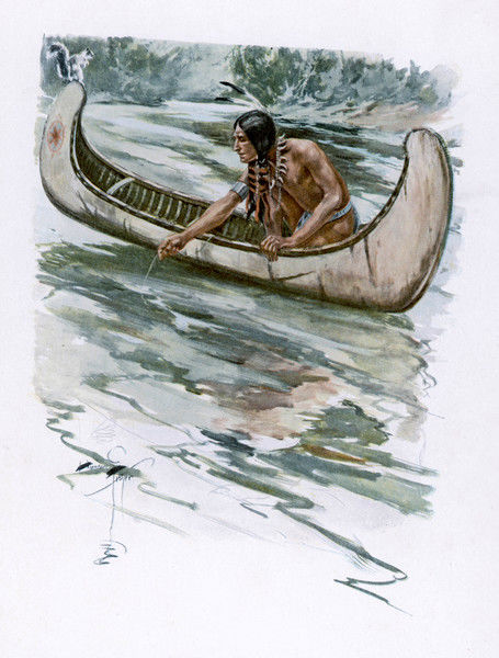 Iroquois man fishing from a canoe