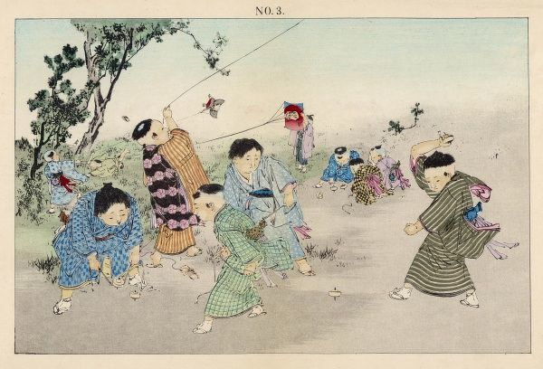 Japanese children flying kites and playing whip and top