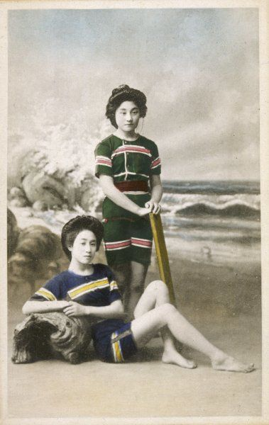 Two Japanese women in western-style bathing costumes