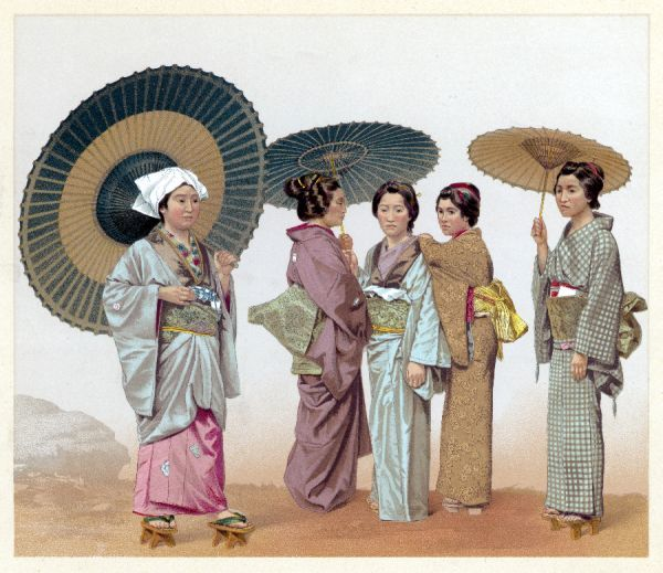 Five Japanese women, three with parasols