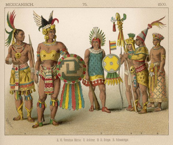 A group of ancient Mexicans: 11 & 16: Men of rank 12: Chief 13 & 14: Warriors 15: Standard bearer
