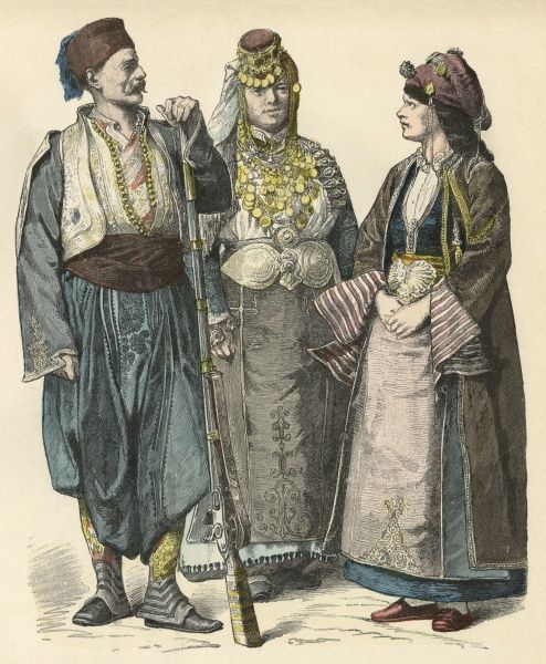A man and two women from Monastir and Thessaly Date: late 19th century
