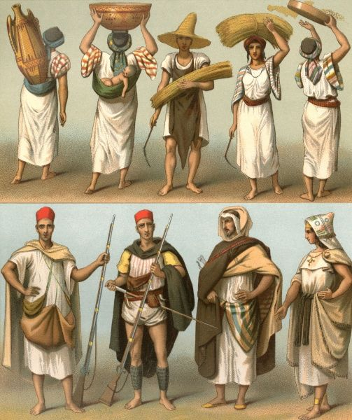 Various Kabyles of Algeria and Tunisia, male and female Date: mid-19th century