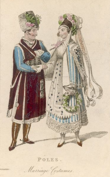 A Polish couple in their wedding costume