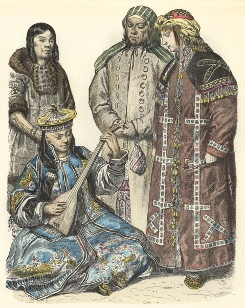 Four people from the Eastern regions of Russia Date: 19th century