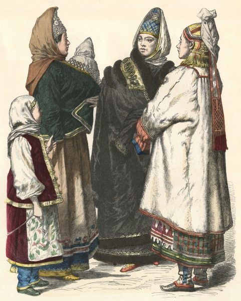 Three women from the provinces, with their children Date: 19th century