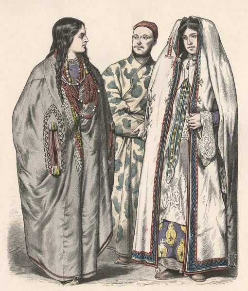 Two women and a man from the Turkestan region, on the border with China Date: 19th century