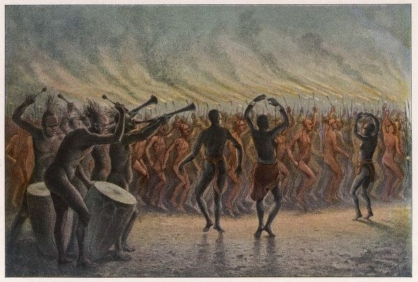 War dance of the Bari-Neger of Mozambique : musicians work up the warriors into a frenzy of blood-lust