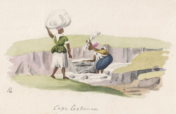 Two washerwomen in Cape costume: one is beating her washing against a rock to get it nice and clean