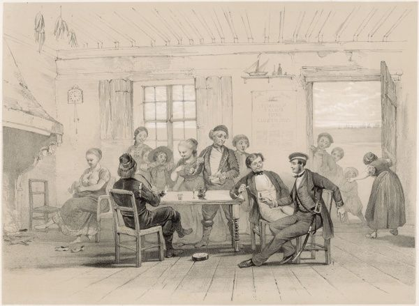 Scene in a Swedish cottage: entertaining a British visitor during the Crimean War