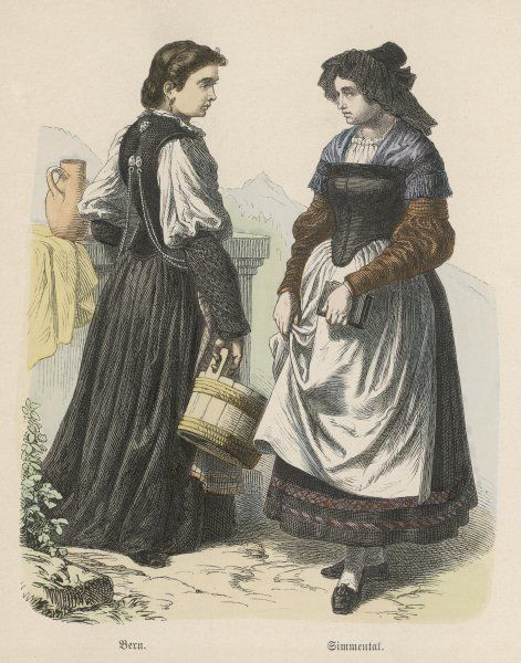 Two Swiss countrywomen of Berne and Emmenthal
