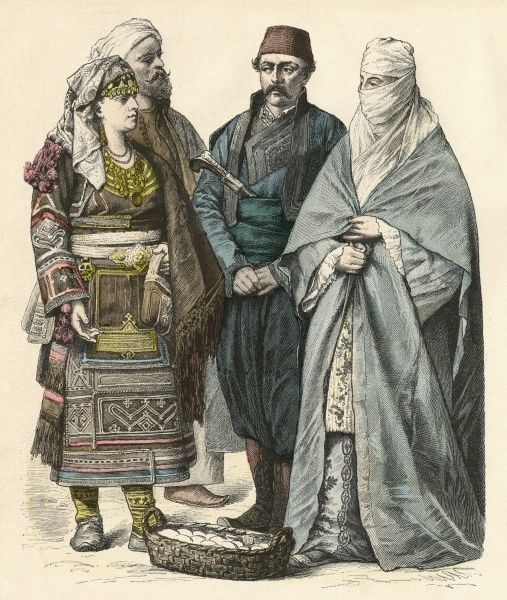 Three Turkish people and a Greek woman Date: 19th century