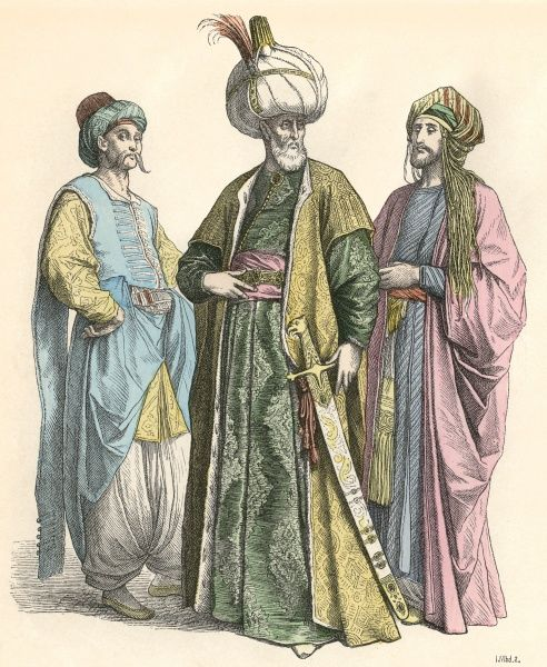 Four Turkish men in traditional dress Date: 19th century