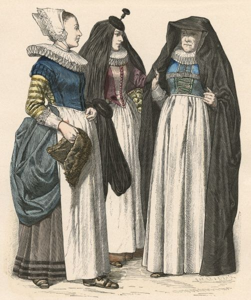 Women of Cologne of various classes: maidservant, matron & a middle class woman. All wear long white aprons & ruffs. Date: 1644