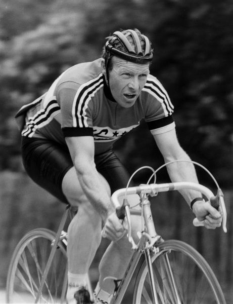 A racing cyclist. Date: 1980s