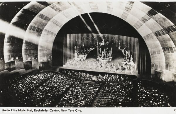 A show at a packed Radio City Music Hall at the Rockefeller Centre, New York