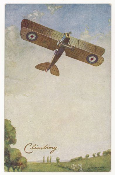 A Royal Air Force biplane climbing as it takes off
