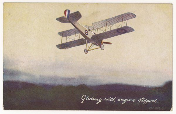 A Royal Air Force biplane gliding with the engine stopped