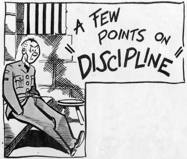 Cartoon of an RAF trainee air cadet at Heaton Park, Manchester during World War Two in prison