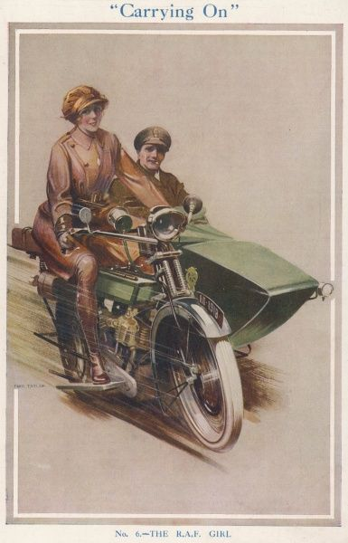 Part of series of illustrations by Fred Taylor depicting the various roles of women during World War I. Here, an RAF or WRAF female motorcyclist chauffeurs an officer in her motorbike and sidecar