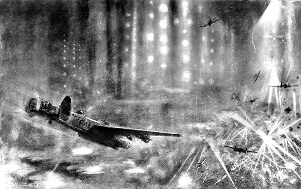 Illustration showing Royal Air Force 'Lancaster' heavy bombers heading towards their target of Berlin, during the Autumn of 1943
