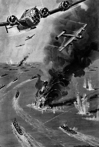 Illustration showing Royal Air Force 'Liberator' bombers flying over an Atlantic convoy, during a German U-boat (submarine) attack, 1943. The image shows two ships of the convoy on fire after being torpedoed and the bombers with their bomb-doors open