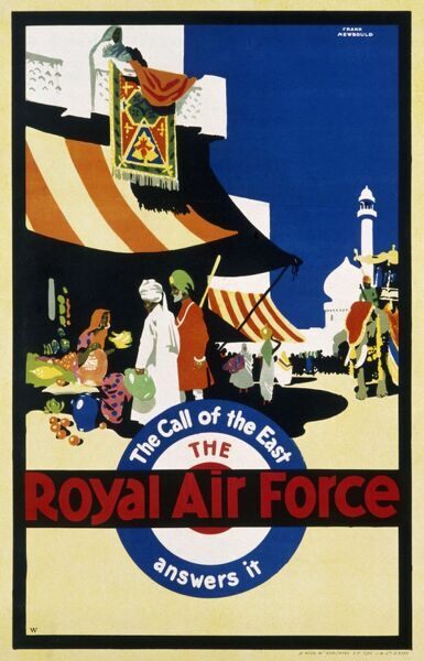 Recruitment poster for the Royal Air Force '..answers the call of the East&#39