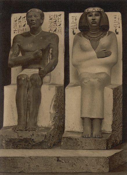 Seated painted limestone statue of Rahotep with his wife Nofret(members of the royal family of the Fourth Dynasty) from their tomb in Meidum, Egypt