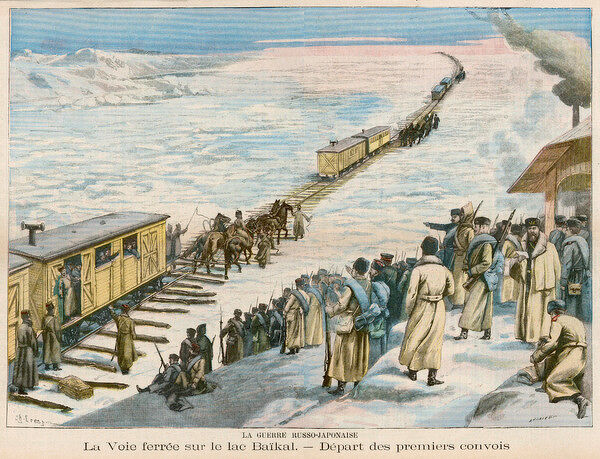 Railway tracks are laid over ice-covered Lake Baikal, and short trains cross carrying troops to the battlefront of the war with Japan