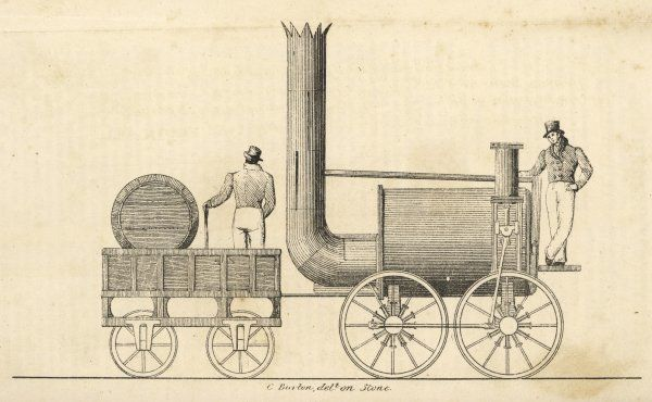 The 'Sans Pareil' of Timothy Hackworth, taking part in the Liverpool & Manchester Railway competition