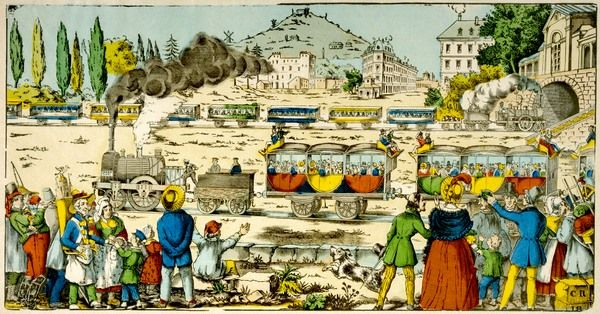 THE RAILWAY COMES TO FRANCE! This popular image captures perfectly the excitement of the new invention which would transform the lives of the marvelling spectators
