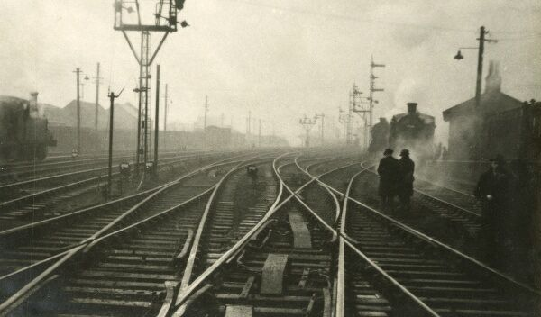 A superb atmospheric photograph looking across a complicated railway junction. From the collection of a Scottish rail accident investigator