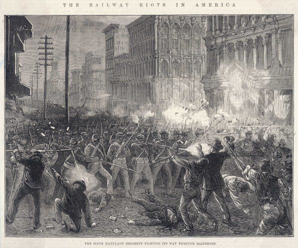 The railway rioters in Baltimore are opposed by the Sixth Maryland regiment, who drive back the crowds at bayonet point and shoot any who resist