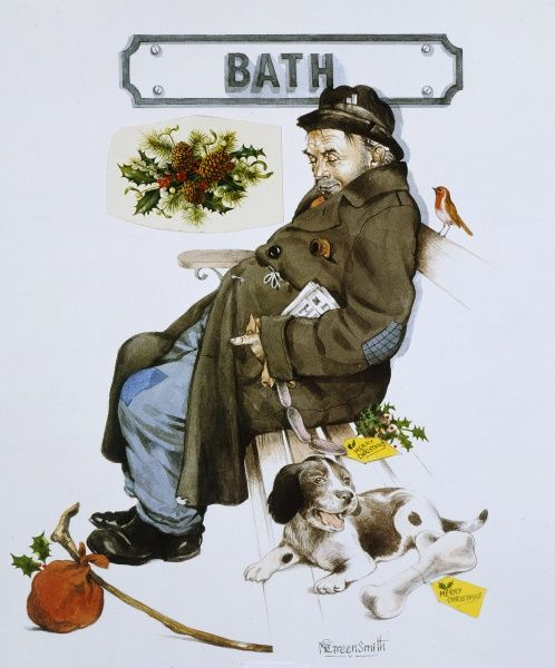 The Railway Sleeper series - A snoozing Tramp at Bath Station at Christmas. Painting by Malcolm Greensmith