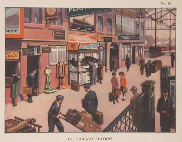 A colour illustration showing the interior of a railway station