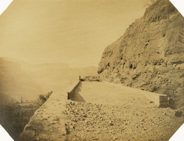 Railway viaduct and retaining walls on rock escarpment, looking up to Khandalla; at 9 1/8 miles Date: 1856