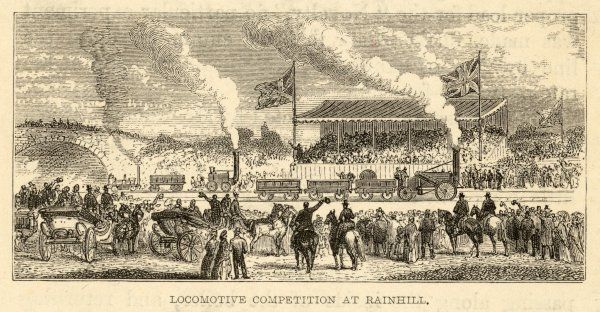 THE RAINHILL COMPETITION The 'Rocket', the 'Novelty' and the 'Sans-Pareil' compete in a performance trial at Rainhill, near Liverpool Date: 1829