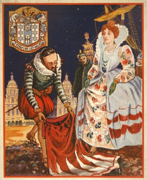 The gallant Sir Walter Raleigh lays down his cloak at the feet of Queen Elizabeth I to prevent her from stepping in the mud